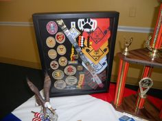 Eagle Scout Ceremony Cake Ideas and Designs Scout Mom, Cub Scouts, Girl Scouts, Eagle Scout Ceremony, Merit Badge, Pinewood Derby, Ceremony Decorations, Shadow Box, Blue Gold