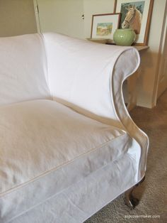 Denim Slipcover for Vintage Loveseat Casual, washed white denim works great for updating old furniture.Casual, washed white denim works great for updating old furniture. Furniture Slipcovers, Old Furniture, Quality Furniture, Furniture Decor, Rustic Furniture, Vintage Furniture, Living Room Upholstery, Upholstery Cushions, Upholstery Repair