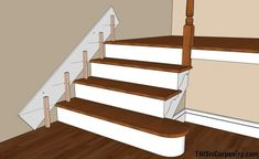 Scribing skirt boards at the edge of stairs. Fix for the gap between wall & stair when enclosing one side of the basement steps. Stairs Skirting, Stairs Trim, Redo Stairs, House Stairs, Stairs Without Trim, Skirting Boards, Baseboard Styles, Baseboard Trim, Baseboard Ideas