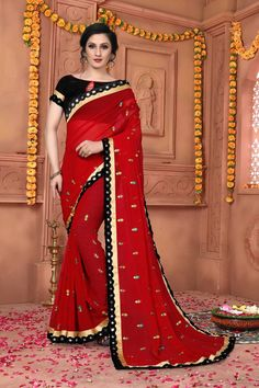 Red Embroidered Art Silk Saree With Blouse Diwali Sale, Bollywood Designer Sarees, 11 August, Red Colour, Art Silk Sarees, Red Fabric, Top Models, Saree Wedding, Indian Sarees