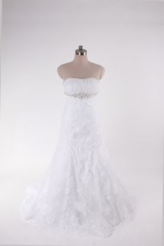 Strapless A-line tulle bridal gown
