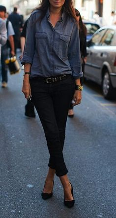 Like: chambray shirt with black pants