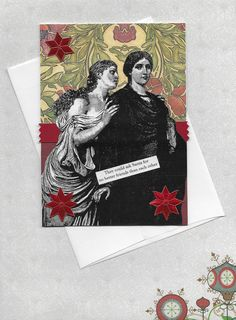 Sweet #Victorian style #Christmas Card for Your #BFF by #rhodyart http://etsy.me/2dI9n6i #bestfriend #christmascard