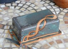 Covered Butter Dish in Slate Blue and Rust