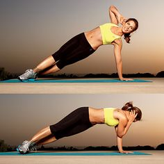 Side plank crunch    Lie on left side with left hand on floor beneath left shoulder, right fingers behind head; let inside of right foot rest on floor in front of left foot.    Tighten abs; push into left hand to lift body so it forms a diagonal line from head to heels. Crunch forward and down, bringing right elbow to left elbow; return to starting position. Do 10 reps; switch sides and repeat.