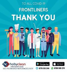 """Today we are just saying """"Thank You"""" to all the frontline workers that put their own lives at risk to fight this pandemic. #StaySafe #Wearamask visit our website 🔗www.hobyclean.com #Hobyclean #positivevibes #postitvethinking #stains #stainremoval #laundry #laundryservice #laundryday #laundrykiloan #laundrycoin #laundryekspress #laundryroom #laundrytime #coinlaundry #speedqueen #laundrysatuan #carpetcleaning #dirtyclothes #vendorapp #SignUp #forfree #downloadtheapp #ecommercelaundry #expandyou Online Laundry, Coin Laundry, Laundry Service, How To Clean Carpet, Positive Vibes, Stains, App, Website, Life"""
