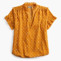 Shop the Point Sur short-sleeve ruffle top in painted dot at J.Crew and see the entire selection of Women's Shirts. Shop Women's clothing & accessories at J. Work Shirts, Cute Shirts, Women's Shirts, Ruffle Top, Ruffle Blouse, Stitch Fix Outfits, Crew Clothing, Short Sleeve Blouse, Short Sleeve Shirts