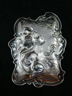 Art Nouveau Woman | Unger Brothers Sterling Silver Art Nouveau Woman Tray