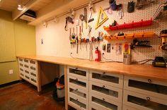 Minor hack but big impact. Nice work on the workshop remodel Brett. u201c More information. More information. Garage storage! & Garage Workbench DIY How We Ikea Hacked Garage Storage | Kallax ...