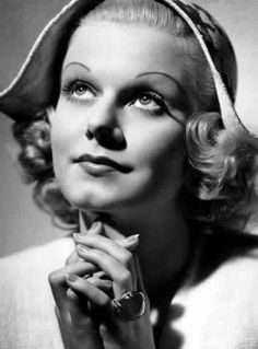 Jean Harlow wearing the star sapphire ring gifted to her by actor William Powell