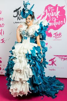 After yet another awe-inspiring display of regional glitz, glamour and re-purposed 'rubbish', Bank Of Ireland Junk Kouture provincial winners will gather together for one last time at the competition's Grand . Fashion 2020, Fashion Show, Tiger Costume, Recycled Dress, Fashion Design Drawings, Recycled Fashion, Special Dresses, Vogue Magazine, Couture Dresses
