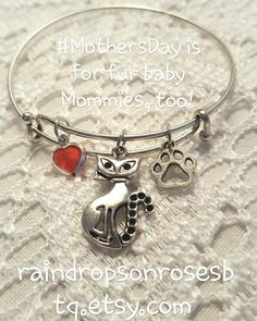 #FurBaby Mommas   #MothersDay is for kitty mommas too  This #kitty #cat #bangle charm #bracelet would make a wonderful  gift for that special #FurBaby momma! Find this and many more #jewelry pretties in my #Etsy shop.  Link in bio  #etsyforall #insta #instapic #instacat #instakitty #Spring #April #May #Friday #Saturday #weekend #pretty #instapet #instacat