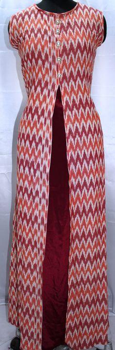 Ikat and crape long dress
