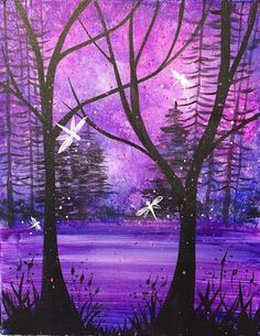 Ladies night tomorrow! Come paint our Wildwood Enchantment painting! #LadiesNight #Fireflies #Glow