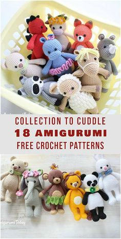 Collection to Cuddle 18 Amigurumi Free Crochet Patterns #crochet #freepattern #amigurumi