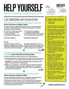 Ask for help more. // Before you ask for help, this printable worksheet will help you build the confidence you need to ask for assistance and then make the most of collaboration. Therapy Tools, Art Therapy, Coping Skills, Life Skills, Social Work, Social Skills, Leadership, Startup, Therapy Activities