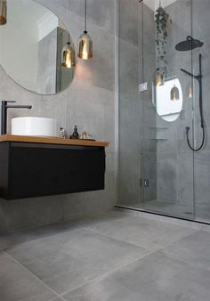 Grey Bathroom Renovation Ideas: bathroom remodel cost, bathroom ideas for small bathrooms, small bathroom design ideas Bathroom Renos, Laundry In Bathroom, Bathroom Flooring, Bathroom Ideas, Bathroom Grey, Bathroom Designs, Bathroom Large Tiles, Kitchen Tiles, Concrete Bathroom