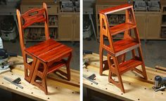 Build a Convertible Step Stool and Chair Tutorial and #freeplansforwoodworking PDF download. Folding Step Stool Chair. http://www.woodworkersjournal.com/build-convertible-step-stool-chair/ #DIYfurniture #stepstool #woodworking plans: http://www.woodworkersjournal.com/wp-content/uploads/WJC139StepStoolChair.pdf