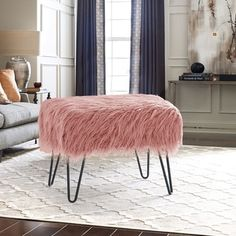 Gold Bedroom, Bedroom Decor, Bedroom Ideas, Shabby Chic Furniture, Living Room Furniture, Pink Room, Ottoman Bench, Faux Fur, Coral Pink
