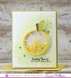 Easy and beautiful lemon shaker card, Easy Peasy, Tiny lemons, Fruit Basket Kit, Queen and Company, Laurie Willison, Love Card, Thank You card, Tiny Dots