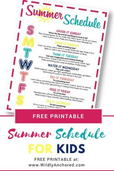 Are you looking to help your children with activities this summer? A summer schedule filled with ideas, creativity and fun is just what a kids and families) need! + FREE Summer Schedule Printable #summeractivities #summerschedule #summerroutine Kids Summer Schedule, Toddler Schedule, Babysitting Activities, Summer Activities For Kids, Children Activities, Family Activities, Outdoor Activities, Routine Chart, Free Summer