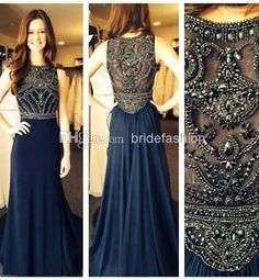 Wholesale Evening Dresses - Buy 2014 Long Prom Dress Dark Blue High Collar Beads Crystal Floor Length Chiffon Evening Gowns New Arrival, $131.87 | DHgate
