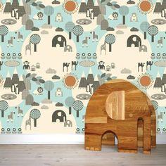 Blå Wallpaper, tapet til børneværelse Kids Wallpaper, Pattern Wallpaper, Toddler Rooms, Kids Rooms, Inspiration For Kids, Creative Kids, Kid Spaces, Kids Decor, Cute Wallpapers