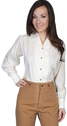 5e53fd77d80 Scully Wahmaker by Women s Wide Lapel Blouse Ivory X-Small at Amazon Women s  Clothing store