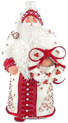 Stately Santa ( Quilled Trees)  Patricia Breen Designs (Red, Pearl/ White, Wreath, Quilling)