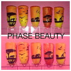 Shellac nail art design ideas, safari design using orange & yellows & moyou London stamping