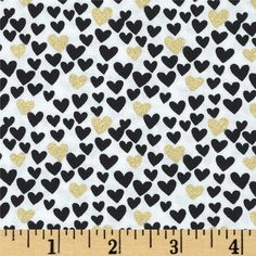 Timeless Treasures Metallic Mini Hearts White from @fabricdotcom  From Timeless Treasures, this cotton print is perfect for quilting, apparel and home decor accents.  Colors include black, and metallic gold on a white background.