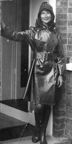 Beautiful older photo in a lovely mack and a smile Vintage Boots, Vintage Leather, Vintage Black, Real Leather, Vintage Style, Heavy Rubber, Black Rubber, Patent Trench Coats, Black Raincoat