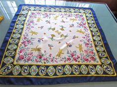 """Vintage Alfred Sung Hummingbirds Dragonflies 31"""" Square Silk Scarf Handrolled"""