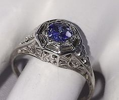 LADIES 14K KARAT WHITE GOLD ANTIQUE FACETED TANZANITE RING FILAGREE SETTING