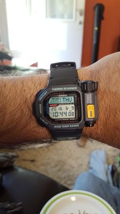 Casio Thermo Scanner Temperature measuring watch from the G Shock Watches Mens, Best Watches For Men, Casio G Shock, Sport Watches, Stylish Watches, Luxury Watches, Cool Watches, Casio Databank, Casio Watch