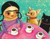 Frida Kahlo Tea Time chihuahua and cat PRINT from Tascha painting