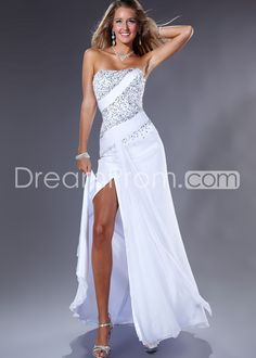 Strapless Floor Length Sleeveless Prom Dresses