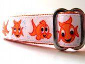 Happy Goldfish Orange Dog Collar  BigDoggyBling  #thecraftstar