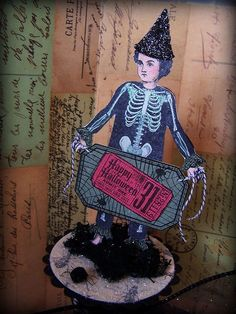 Halloween paper doll by Barbara Smith working with art stamps from Character Constructions.