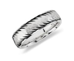 Men's Wedding Ring in Sterling Silver with 14k White Gold #BlueNile
