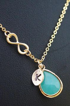 Initial Personalized mint glass with infinity necklace from EarringsNation Mint and gold weddings Mint weddings Monogram