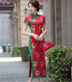 Sexy Red Brocade Chinese Dress-Qipao,cheongsam dress #cheongsam #chipao