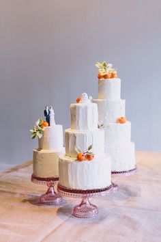 Why pick one when you can have three rustic #weddingcakes?! | @corbin | Brides.com