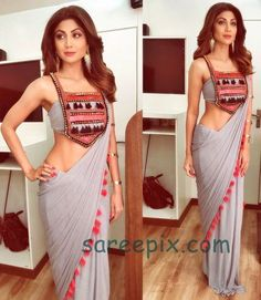 Bollywood Yoga beauty Shilpa shetty in Nidhi Malhan saree for Super dancer show, posted on her Instagram profile. Shilpa shetty latest instagram saree photo