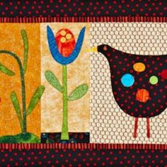 Hen and Flowers Wall Hanging