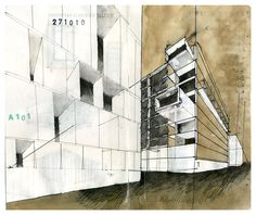 A collection of architecture sketches and drawings (mostly and hopefully by hand) focused firstly on. Revit Architecture, Architecture Drawings, Architecture Graphics, Model Sketch, Archi Design, Perspective Art, Detailed Drawings, Illustration Sketches, Illustrations