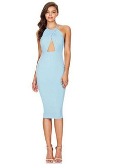 Halter Hollow Out Backless Bodycon Cross Wrap Knee-length Dress