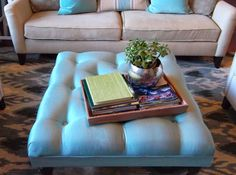 Overview: You'll upholster a piece of plywood and attach it to a wood base made of and wood legs to make this ottoman. Diy Storage Ottoman Coffee Table, Diy Ottoman, Tufted Ottoman, How To Make Ottoman, Wood Sofa, Bench Cushions, Wood Screws, Upholstery, Benches
