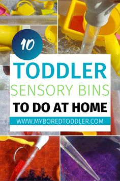 Toddler sensory bins to do at home - easy sensory bins for toddlers to do at home - great for babies, one year olds, two year olds, three year olds. Fun Activities For Toddlers, Parenting Toddlers, Indoor Activities, Sensory Activities, Infant Activities, Sensory Play, Parenting Tips, Sensory Table, Steam Activities