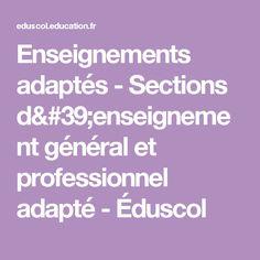 Enseignements adaptés - Sections d'enseignement général et professionnel adapté - Éduscol